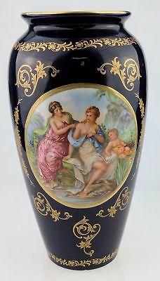 "Keramos Italy vase blue gold tone 10"" Cupid scene topless women - small chip"