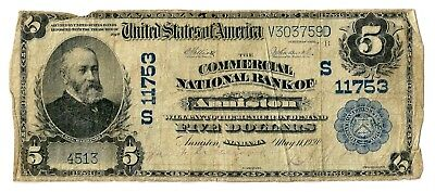 Anniston, Alabama (AL) $5 National Bank Note, 1902 Lg Size, Blue Seal, Ch 11753