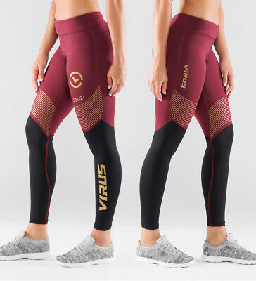 Virus Women's Bioceramic™ Compression V2 Pants (EAU21.5) Maroon/Black. Crossfit