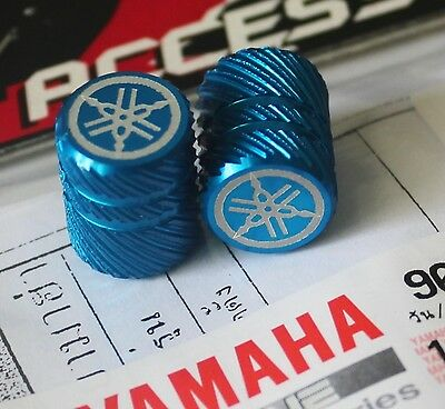 Yamaha Genuine Wheel Valve Dust Cap Set Of Two Blue Half Knurl Finish