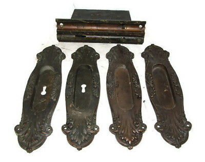 Antique Complete Pocket Door Hardware Set Mortise Locks 4 Thick Brass Plates