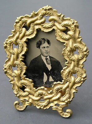 """Rare Antique Aesthetic Eastlake Victorian Chain Pattern Picture Frame 4"""" Lovely"""