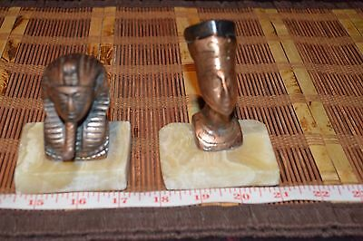 """Two Vintage Egyptian Copper statue with marble base 4 1/2""""x2 7/8"""""""
