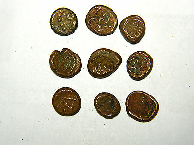 Scarce, India, Madurai, Nayak dynasty, 1529–1736, copper cash. 9 coins.