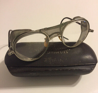 Vintage Bausch & Lomb Motorcycle Mesh Safety Glasses w/ Metal Case Steampunk