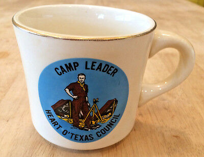 Vintage Boy Scouts Camp Leader Heart Texas Council Coffee Tea Cup Mug Gold 1970s