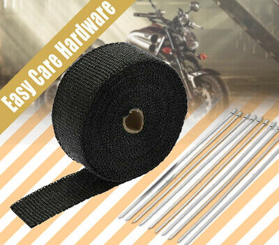 EXHAUST HEAT WRAP 50MM X 15M with 10 STAINLESS STEEL CABLE BLACK