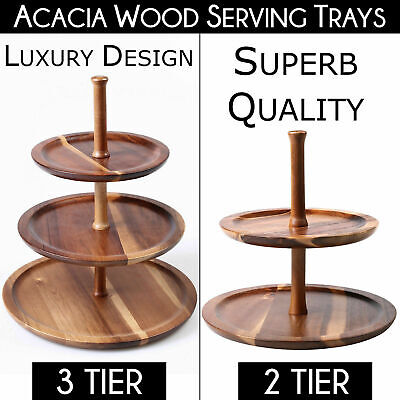 LUXURY 2 & 3 TIER SERVING TRAYS Natural Carry Wood Food Level Platter Display