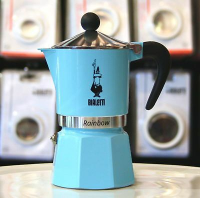 Bialetti Rainbow Light Blue stovetop coffee maker in 3 or 6 cup