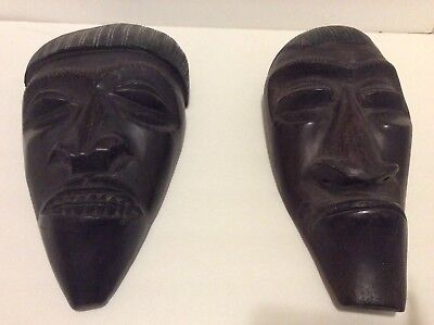 Pair 2 Old Antique Hand Carved Wooden African Tribal Masks Male Female Wall Art!