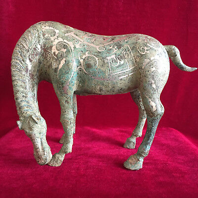 antique   Ancient Chinese bronze with silver decorative pattern of high horse.