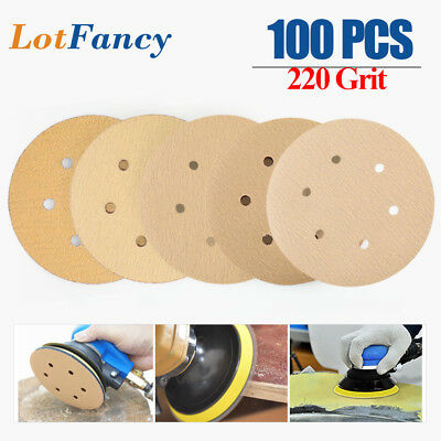 6'' 6-Hole 220Grit Dustless Hook-and-Loop Sanding Disc Orbital Sander Sand Paper