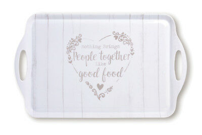 Cooksmart Food for Thought Large Melamine Serving Tray Hearts Dining White Cream