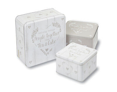 Cooksmart Food for Thought Set of 3 Square Cake Tins Baking Storage Hearts