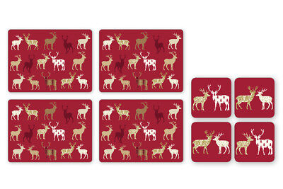 Cooksmart Highland Christmas Stag Placemats and Coasters Set of 4 Festive