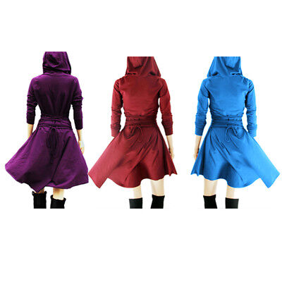 Women Medieval Dress Gothic V collar Hooded Lace up Large Pendulum Cosplay Dress