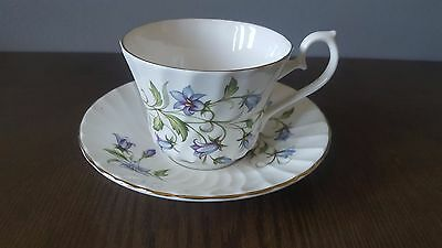 Royal Sutherland H & M Fine Bone China Blue Floral Tea Cup & Saucer England