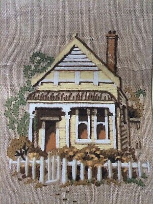 Vintage Creative Crewel Embroidery KIT by SEMCO:  The Weatherboard Cottage