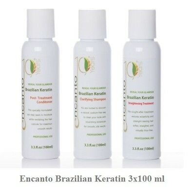 ENCANTO DO BRASIL Brazilian Keratin Haarglättung Hair Straightening Set 3x100ml