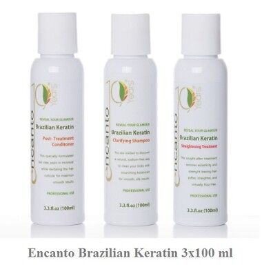 ENCANTO DO BRASIL Original Brazilian Keratin Behandlung Haarglättung Set 3x100