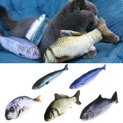 3D Funny Pet Cat Kitten Salted Fish Stuffed Mint Interactive Chewing Playing Toy