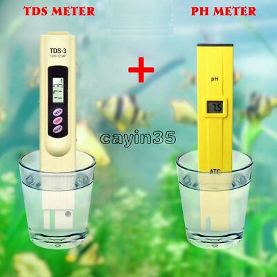 TDS Tester+Digital Ph Meter Aquarium Pool Hydroponic Water Monitor 0-9999 PPM UK
