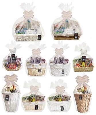 make your own hamper wicker basket cellophane wood wool bow easter