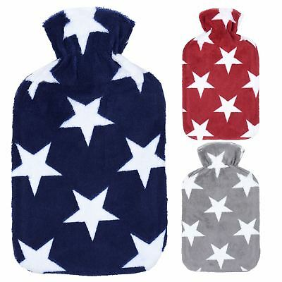 Large Hot Water Bottle With Star Print Fleece Cover Heat Therapy Bed Sofa 2L