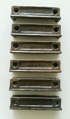 6 matching  3 1/4  inch Cast Iron Door Rim Lock Keeper  Catch Strike Plate
