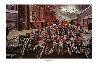 Dave Mann Ed Roth Studios Print Poster Motorcycle Funeral