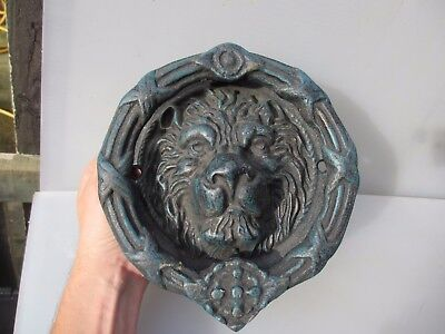 Large Cast Iron Lion Head Door Knocker Lions Antique Georgian STYLE Old Wreath