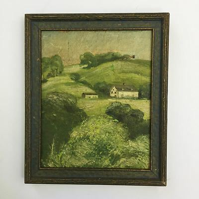 Antique Framed small 1900s Landscape Oil Painting by unknown Lyme, Ct. artist
