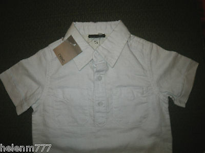Next UK Boy Dress Shirt 3 - 6 M 000 00 Light Blue Linen Cotton Short Sleeve