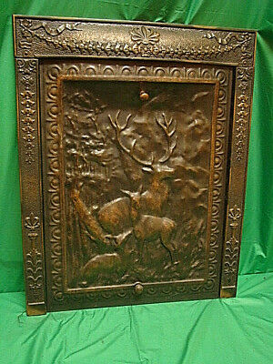 Late 1800's Ornate Cast Iron Fireplace Insert Frame W/ Summer Tin Cover W/ Deer.