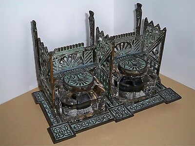Antique Victorian Eastlake Double Inkwell Original Patina Celtic Knots Glass Bot