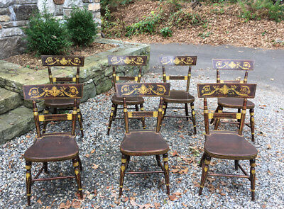 Period antique set 7 early American tablet top dining chairs Baltimore c1810-25