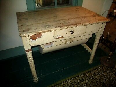 Antique Possum Belly Baker's Table - Original Distressed Farmhouse Patina