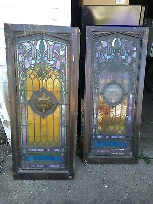 Antique Stained Glass Double Doors 19th Century Beautiful Architectural