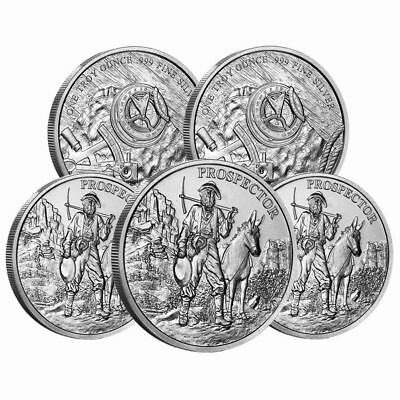 FIVE (5) 1 oz. Provident Metals Prospector .999 Silver rounds, BU