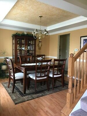 Cherry Dining Room Set with China Closet and 6 Chairs by Stanley