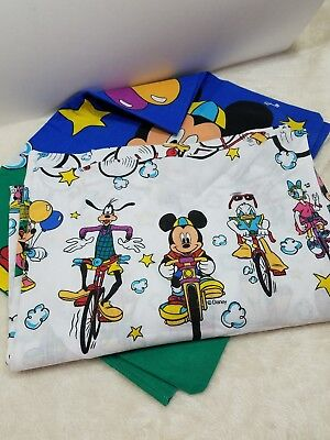 Vintage 90s Mickey Mouse & Friends Bicycling Kid Twin Top Flat & Pillowcase USA