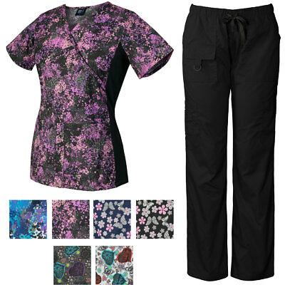 Medgear Women's Scrubs Set, Print Top with Knit Side Panels and Pants (3 Prints)