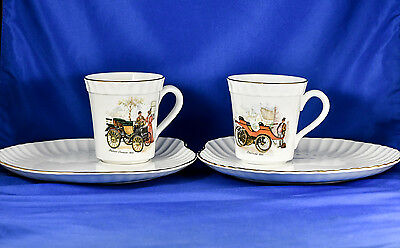 CROWN Staffordshire England Fine Bone China Cup+Plate PAIR Panhard & Lanchester