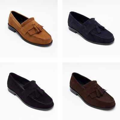 Lucini Slip on Mens Real Suede Leather Moccasin Loafers Shoes All Colors & Sizes