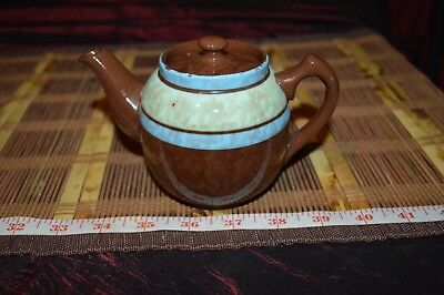 Vintage Sadler Brown Betty Single-Serving Teapot with Green and Blue Stripes