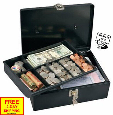 Security Master Lock Metal Steel Cash Box Money Safe Locking Personal With Tray