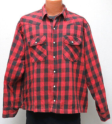 vtg Five Brother RED BUFFALO FLANNEL Shirt XLT Satin Lined 80s western XL Tall