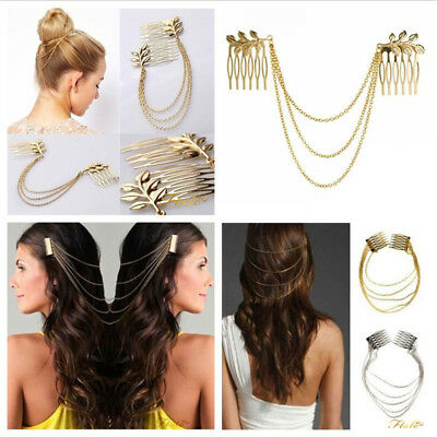 Hair Pin Combs with Chain Cuff Jewellery Bridal Decoration Bride Head Band UK