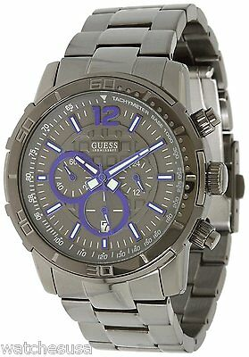 Guess Men's Chronograph Gunmetal Dial Stainless Steel Bracelet watch W22521G1