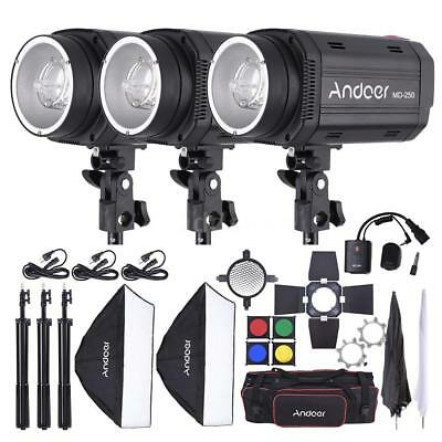 Andoer 750W Studio Strobe Flash Light Kit with Light Stand for Photography H8I2